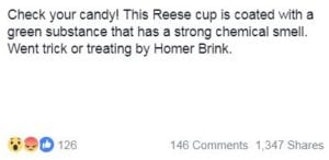Facebook post showing moldy Halloween candy leaves parents concerned