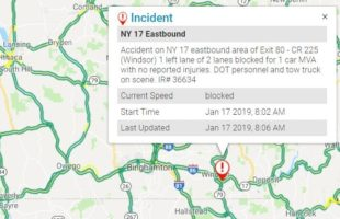 Rollover closes Route 17 lane in Windsor