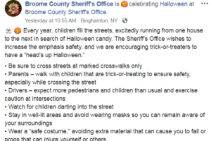 Broome County Sheriff's Office gives tips for a safe Halloween
