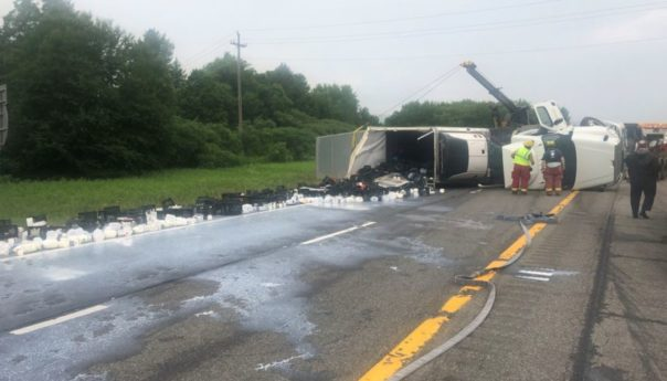 Tractor-trailer rollover causes I-88 to shut down